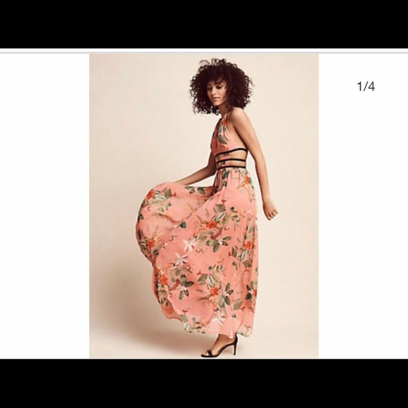 434d2ebe1a7a2 Express Dresses & Skirts - Floral Strappy Side Plunge Cut-Out Maxi Dress